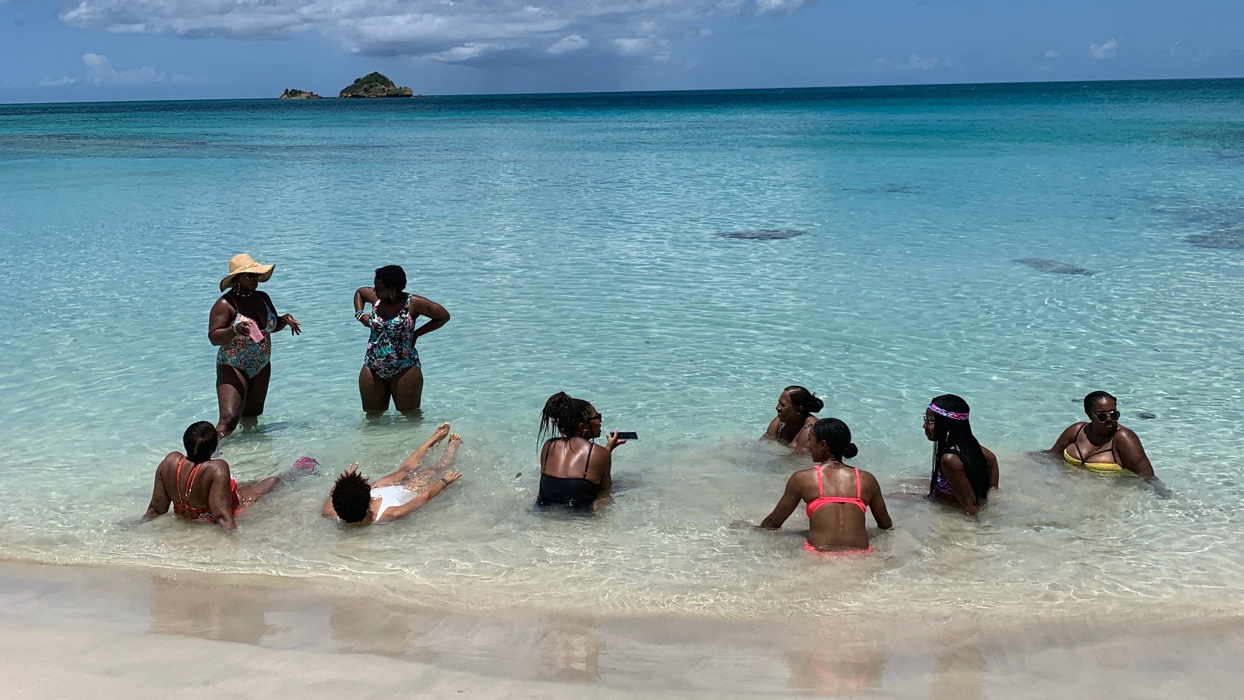 Catamaran group excursion at Pearn's Point in Antigua, August 2019