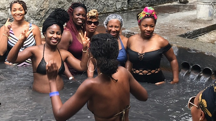 Group island tour at the Sulfur Springs in Soufriere, St. Lucia, August 2018.