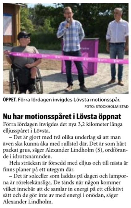 Urklipp från Hässelby Tidning nr. 23 - 2018.