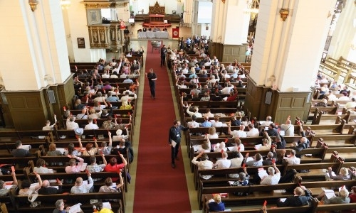 The 2016 Synod of the Evangelical Lutheran Church of Latvia meets in the Cathedral of Riga.  Photo via the ELCL .