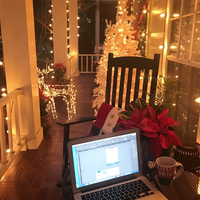 When it is 70 degrees in Texas three days before Christmas, you kinda have to work outside in all the Christmas lights, right?