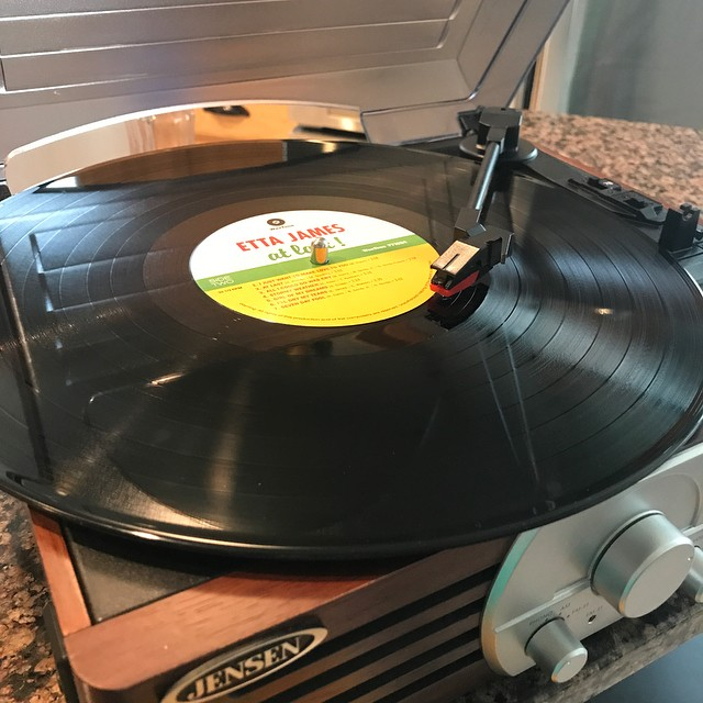 Christmas morning listening to Etta James on vinyl. Perfect, right? My 14-year old is an old soul so Santa brought her a record player. Merry Christmas!