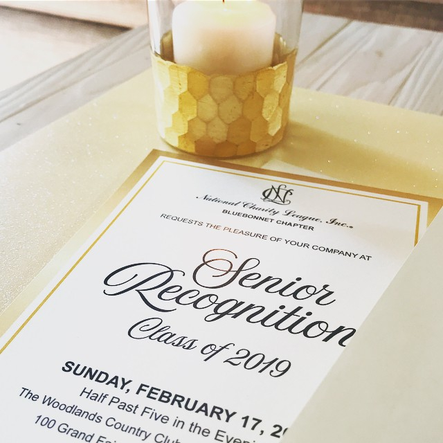 EVENT DESIGN || the first step in any event is picking the theme then the invitation. The NCL Bluebonnet Chapter has chosen a theme that is simple, classy, and elegant. This simple metallic gold design was printed on white pearl paper with a champagne gold pearl envelope. Such a beautiful design to celebrate their seniors. .……….……….……….……….……….……… #graphicdesign #custominvitations #eventdesign #specialevents #thewoodlands #jwpdesignstudio #customdesign