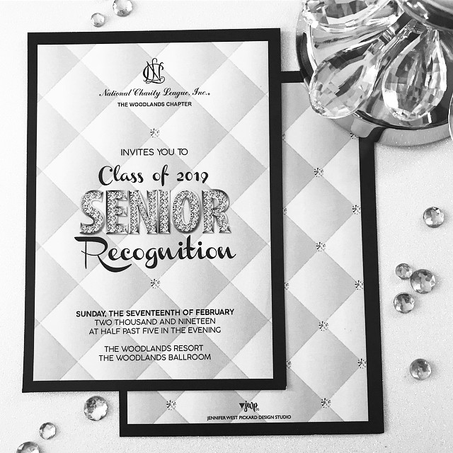 EVENT DESIGN || this NCL chapter had a little fun with their Senior Recognition theme. They chose Coco Chanel. I had to draw the padded leather and the stitches bc they wanted it to look like the signature Chanel-style padded purse. The sparkle letters match the sparkle CC logo. I printed the invitation on white pearl card stock with silver-lined black envelopes. Thank you @suemerino for the lovely calligraphy. It was the perfect finishing touch. .……….……….……….……….……….……… #graphicdesign #custominvitations #eventdesign #specialevents #thewoodlands #jwpdesignstudio #customdesign