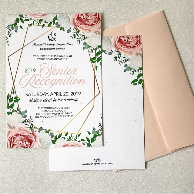 EVENT DESIGN || 'Tis the season for events. I've had the pleasure of working with 4 National Charity Leagues (NCL) as they prepare to celebrate their seniors. This chapter had the exact theme in mind when we started so this was so easy to complete. ⠀⠀⠀⠀⠀⠀⠀⠀⠀ The invitation was printed on a really pretty linen paper with matching blush envelopes. All of my invitation designs include a matching back. ⠀⠀⠀⠀⠀⠀⠀⠀⠀ .……….……….……….……….……….………⠀⠀⠀⠀⠀⠀⠀⠀⠀ #graphicdesign #custominvitations #eventdesign #specialevents #thewoodlands #jwpdesignstudio #customdesign #nclthemagnoliaschapter