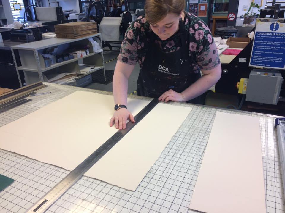 Preparing paper for printmaking. Visit the 'Prints' section on my website to see the finished pieces.