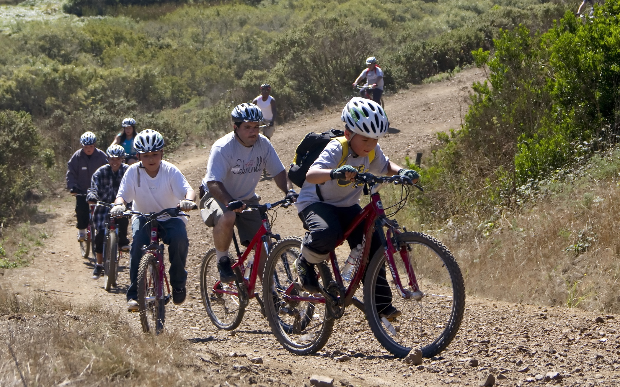 A previous biking trip for kids and their families