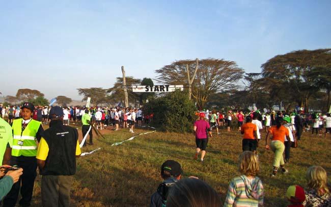 Runners from around the world at the start of Lewa Marathon in Kenya in June 2012