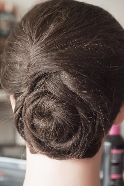 Woven bun upstyle