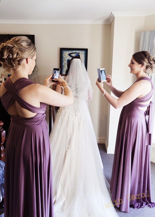 bride getting ready with iphones