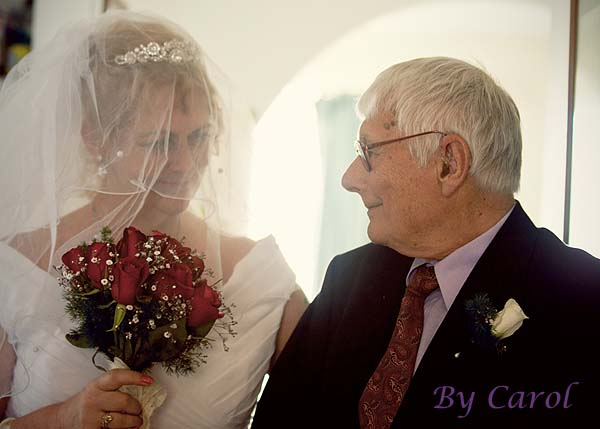 bride and father before wedding