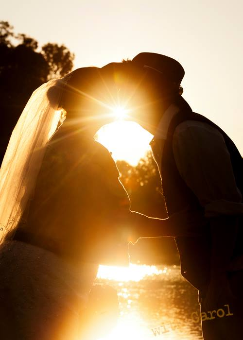 country wedding sunset kiss