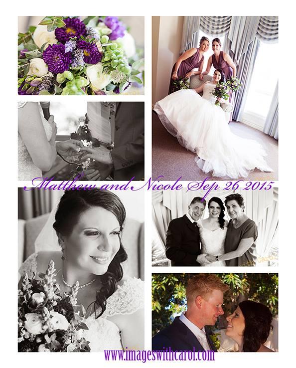 bride getting ready purple flowers