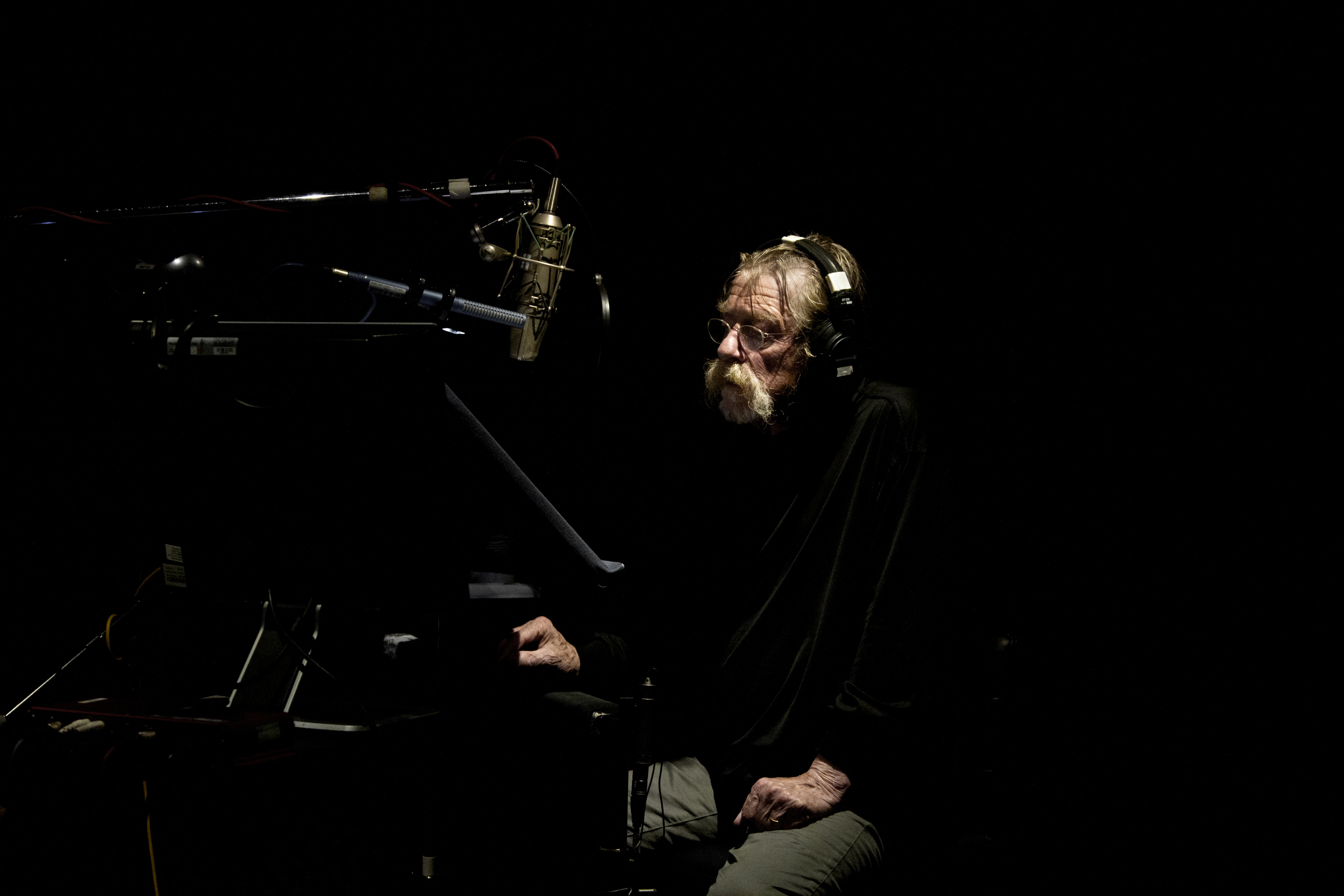 "John Hurt recording ""The Alchemist's Letter"" at WB Sound London."