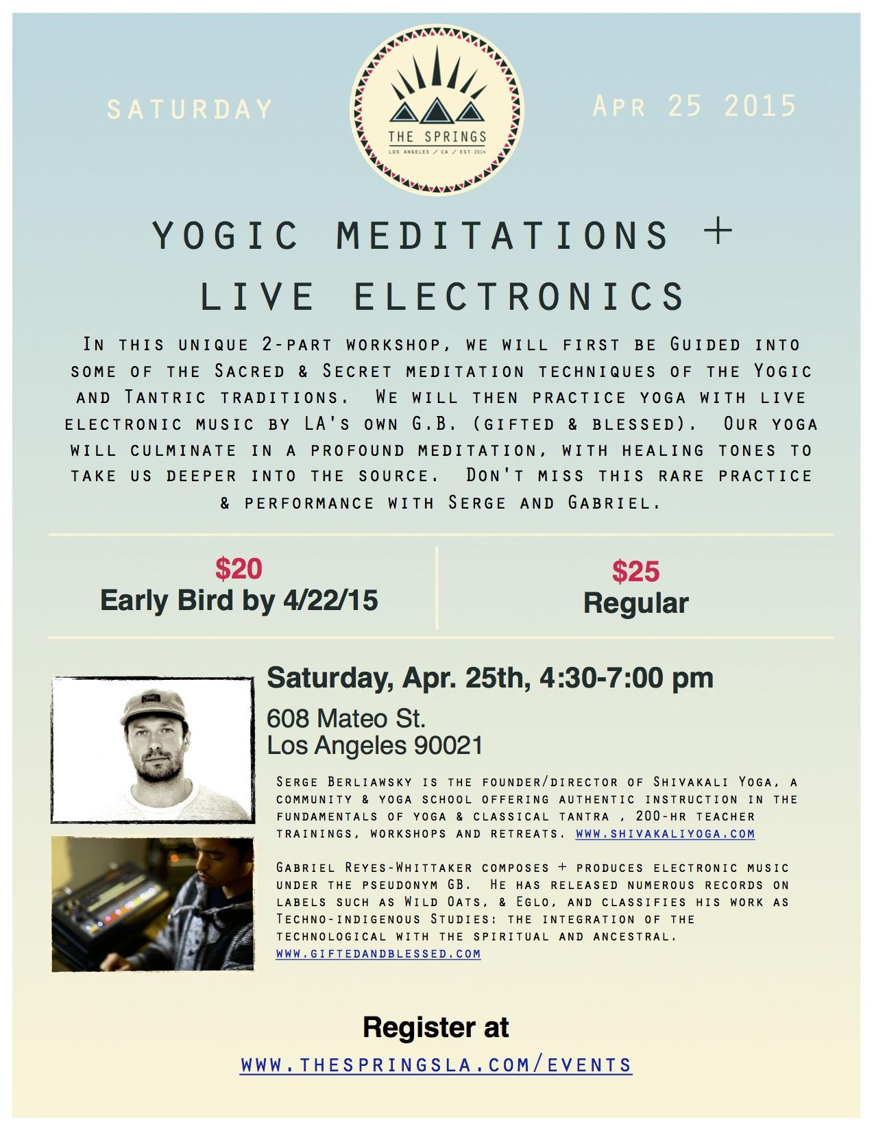 Yoga Workshop by Shivakali Yoga, a  Los Angeles-based Yoga Teacher Training and Yoga Certification School that holds Yoga Retreats and Workshops.