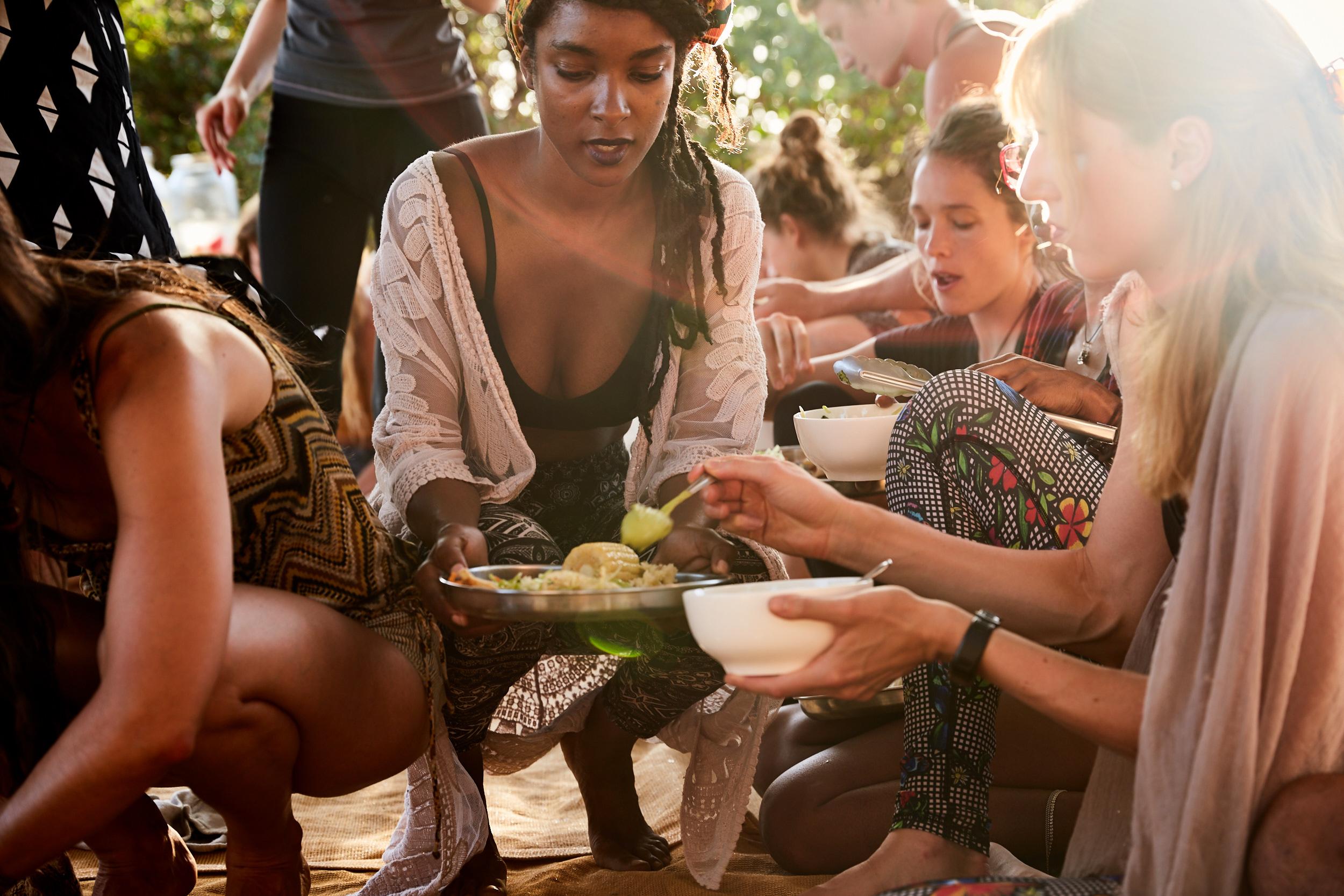 Dinner at Costa Rica Yoga Teacher Training with Shivakali Yoga, at Nalu, Nosara.  Costa Rica-based Vinyasa Yoga Teacher Training and Yoga Certification Program that Certifies Yoga Teachers on Retreat.