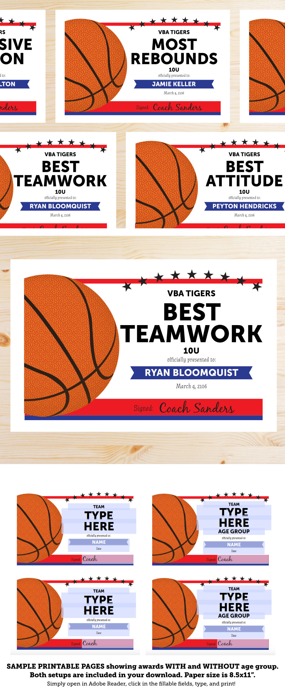 Basketball Award Categories: Editable Basketball Award Certificates