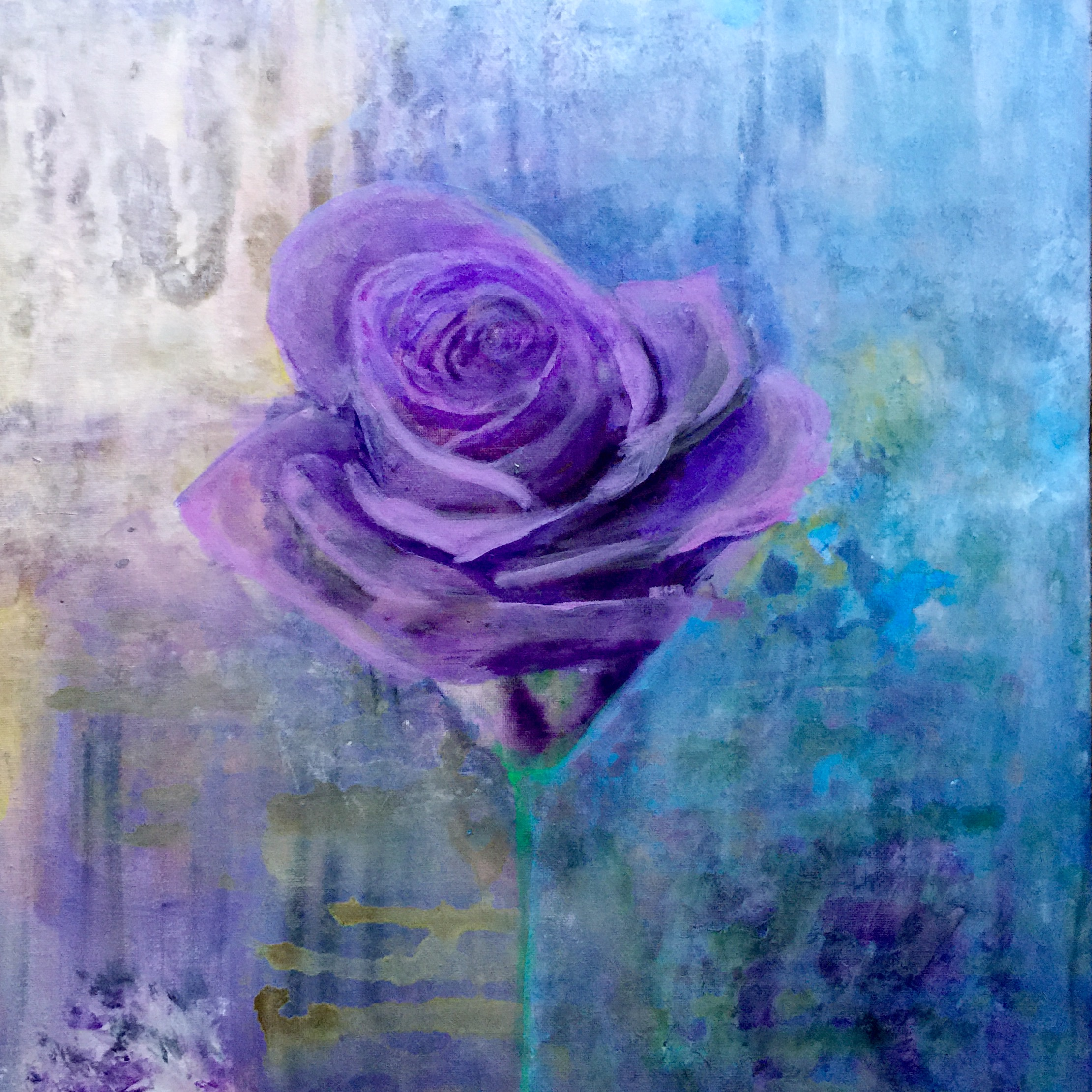 """ Give me a rose"", Acrylic on canvas, 20"" x 20""."" The distance between us"", Acrylic on canvas, 20"" x 20""."