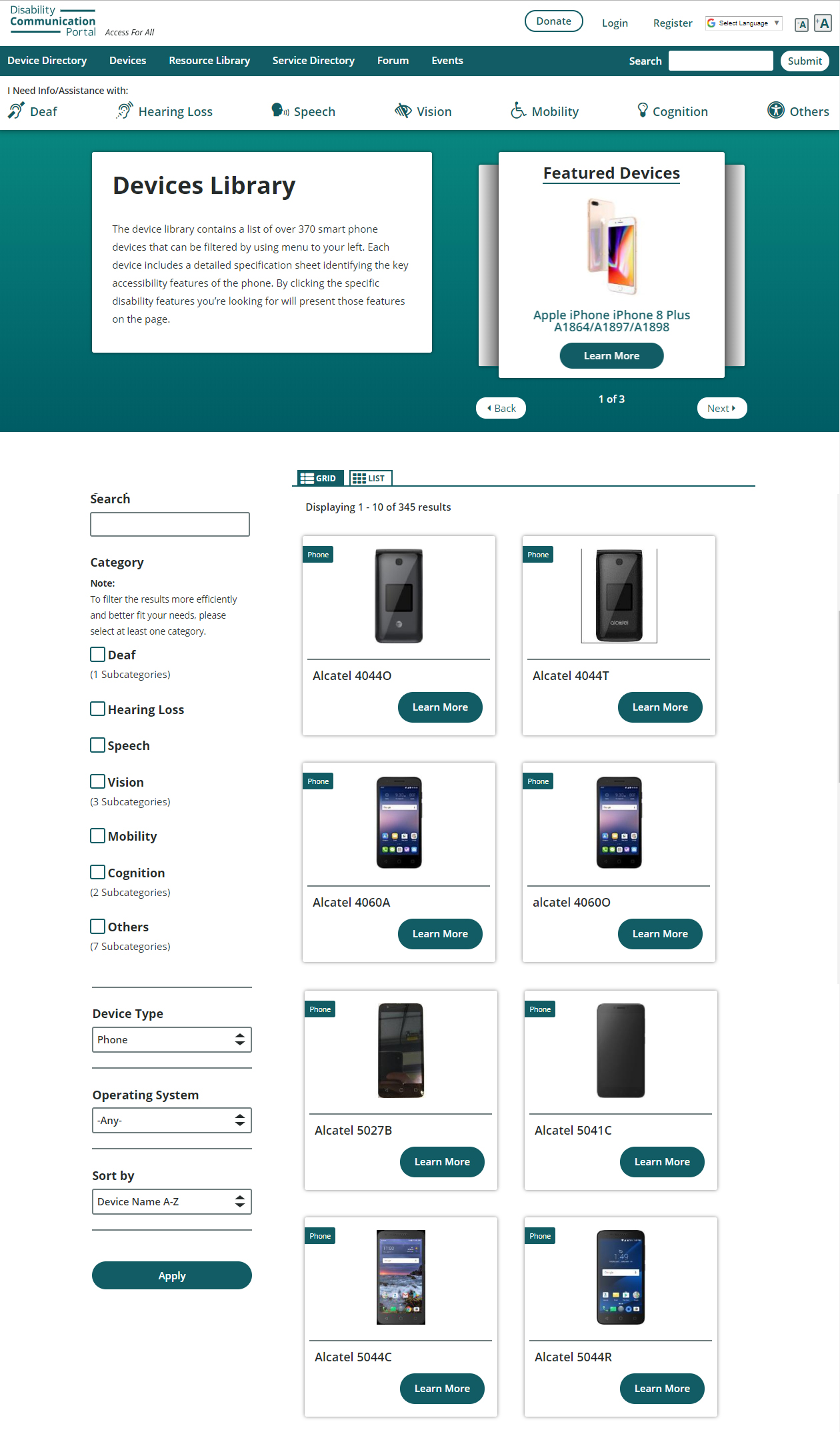Example 1: The device library landing page - It is accessible from the Services Navigation bar on the top. The disability categories are available as filters on the left.