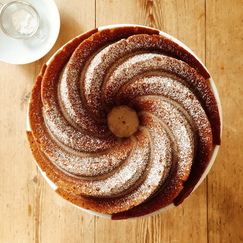 Spiced Pumpkin Bundt Cake with a light Maple Glaze