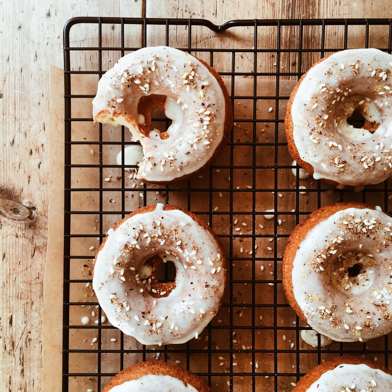 Dukkah Donuts with Orange Honey Glaze