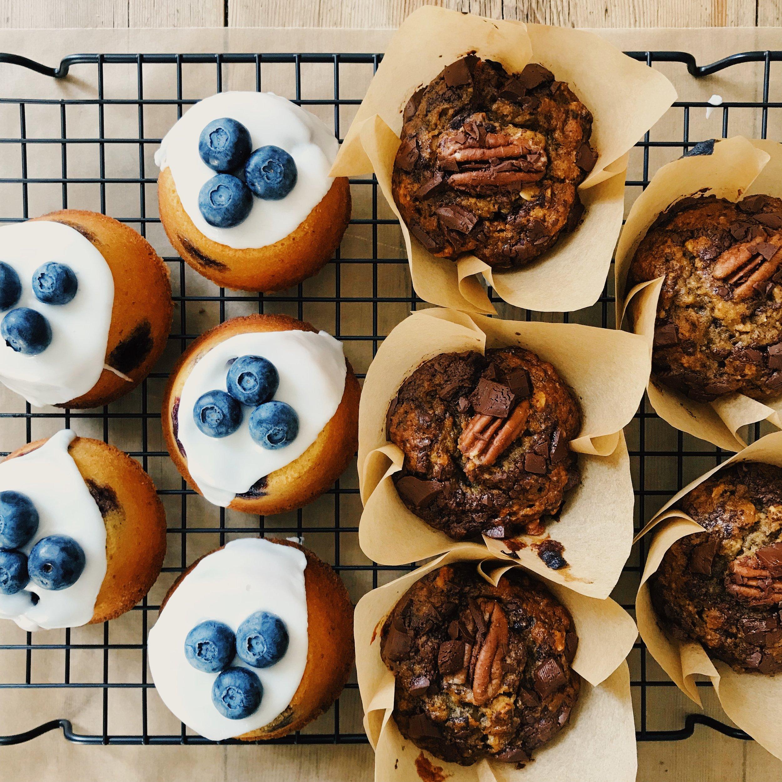 Lemon Blueberry Tea Cake and Banana Chocolate Muffin