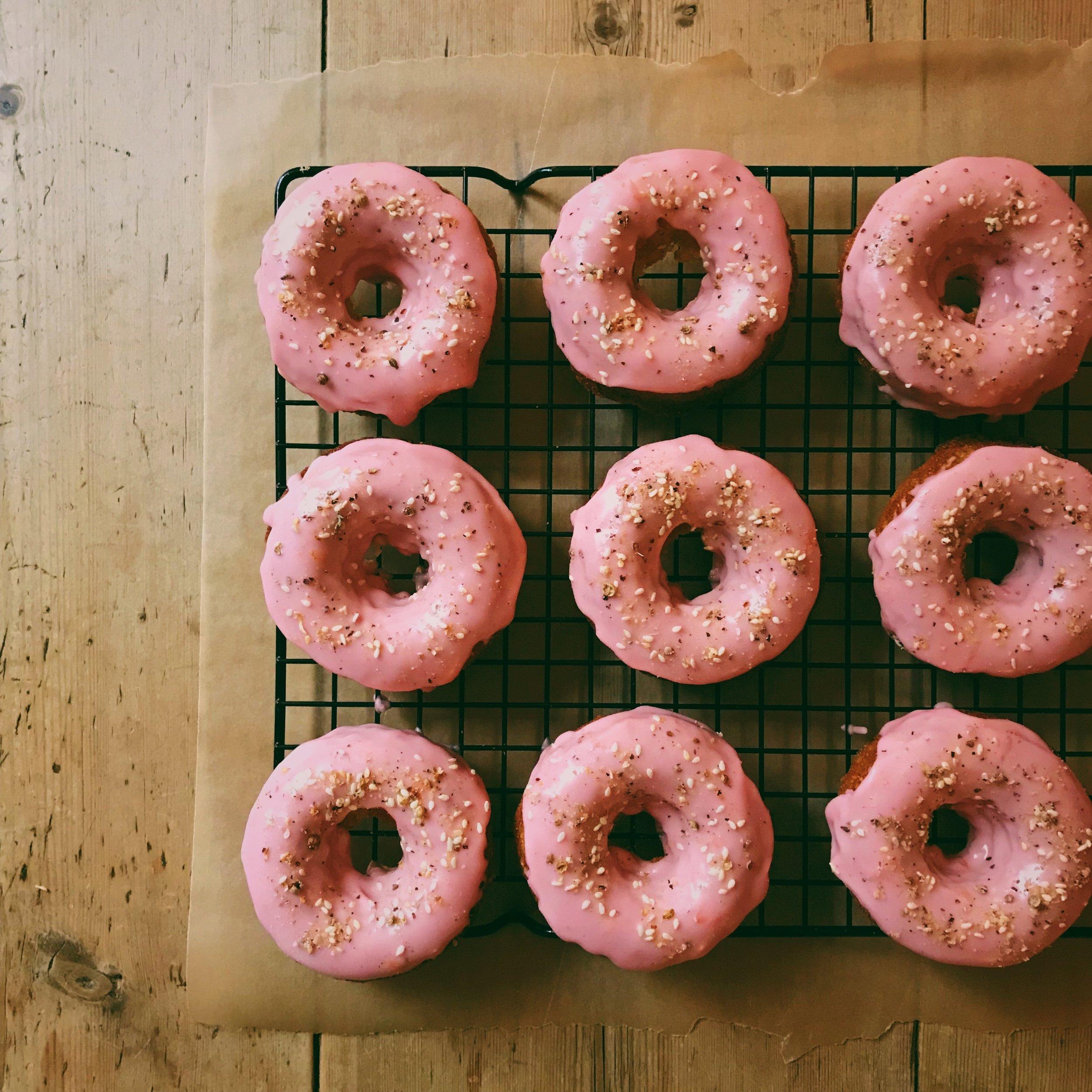 Dukkah Donuts with Blood Orange Glaze