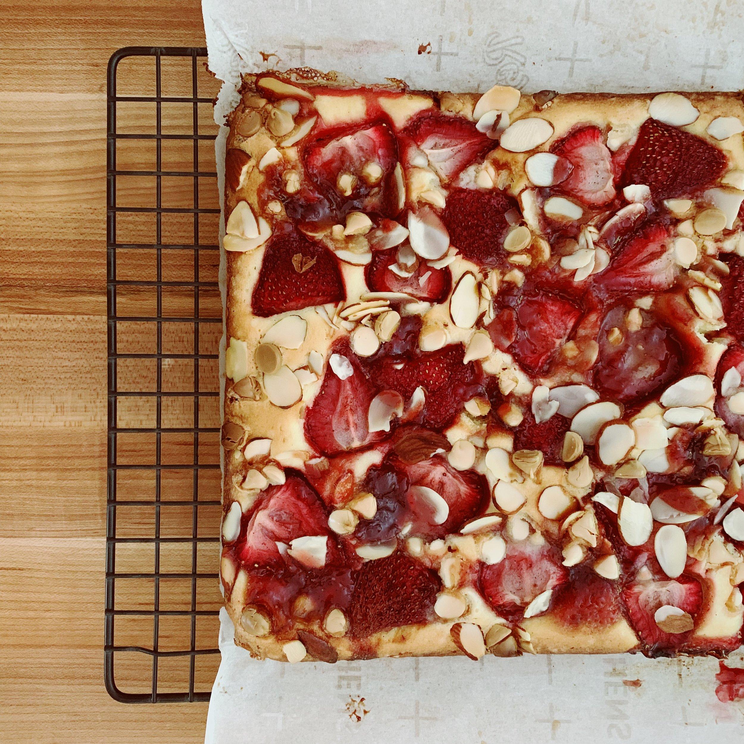 Roasted Strawberry and White Chocolate Sheet Cake