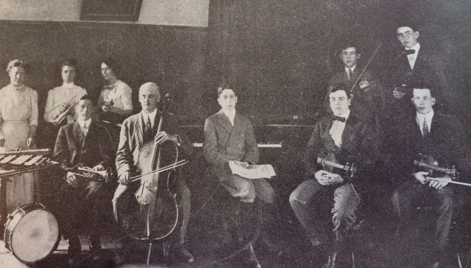 Hitchcock Academy has a long history with music as an important part of its mission, as reflected in this 1912 photo of the Hitchcock Orchestra.