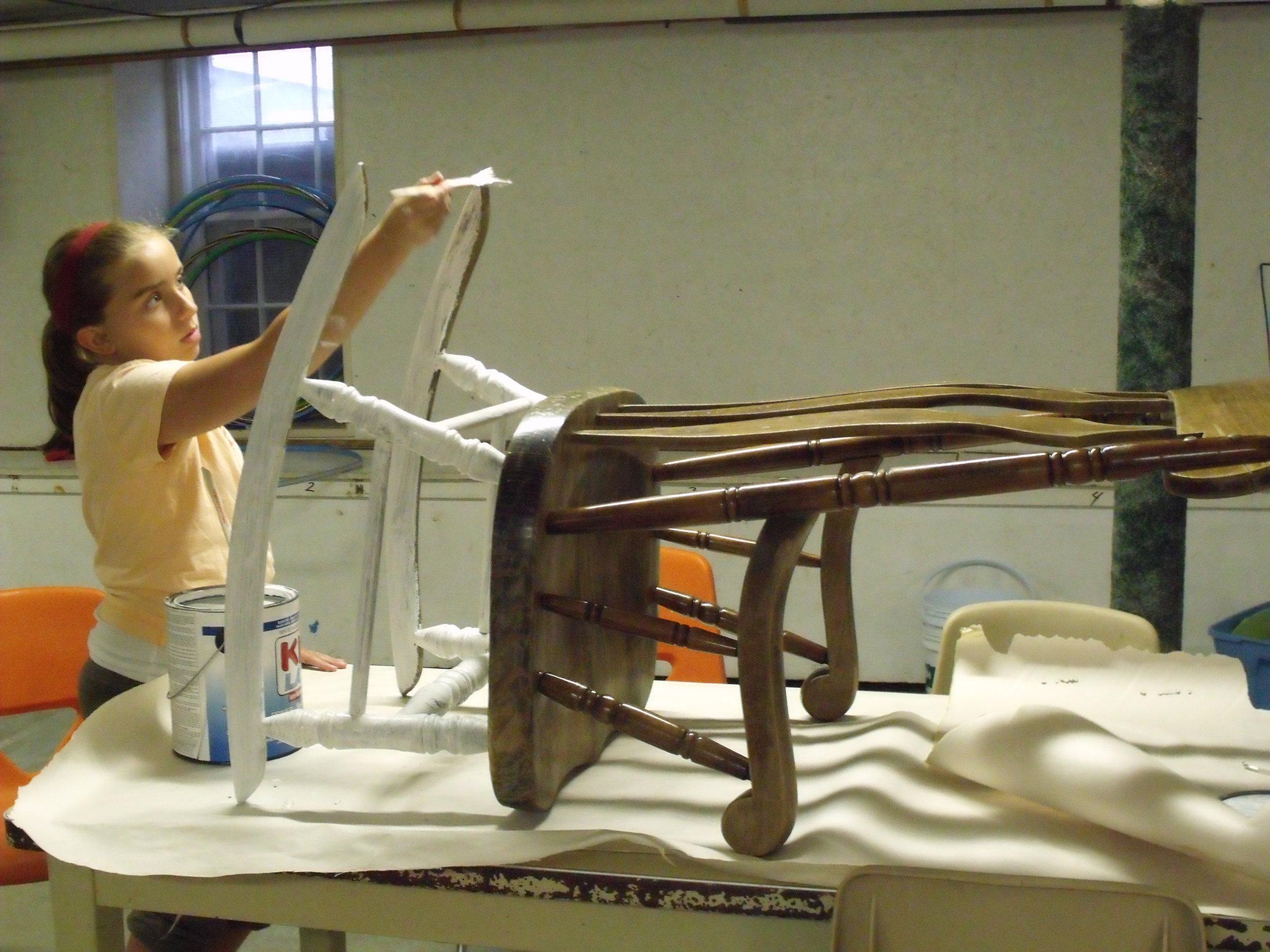 Volunteerism -- Sylvia painting rocking chair Aug 2011 002.jpg