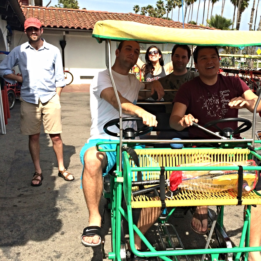 The team enjoys a weekend trip to Santa Barbara, California and enjoy a ride on the multi-tandem bicycle.