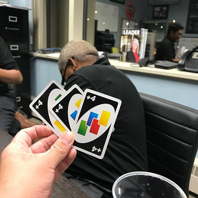 Marlon lost 13 games in a row. And he picked up 12 cards on the last game