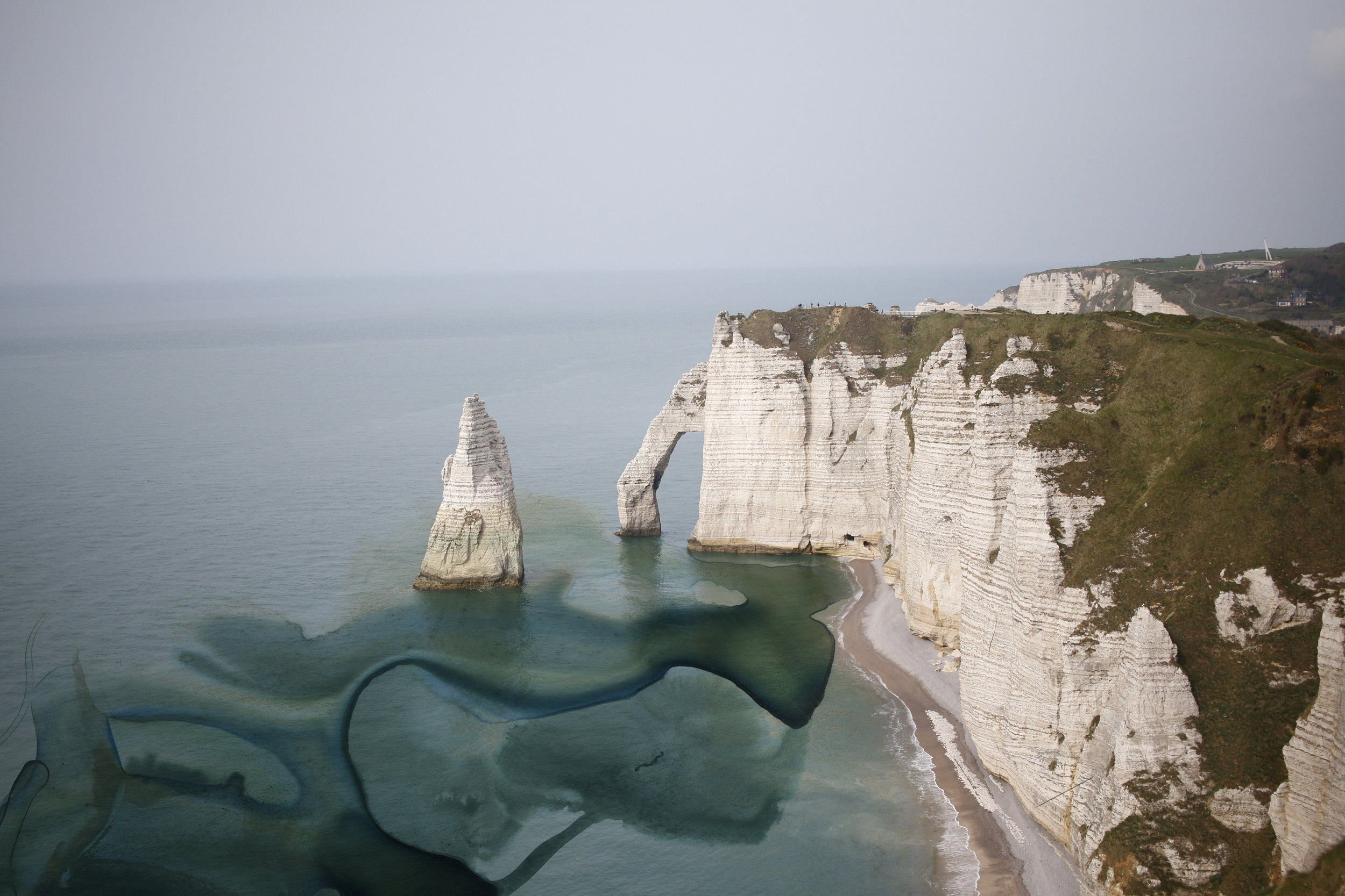A 2015 memory of Etretat, France, splashed with Sarah Hart Art.