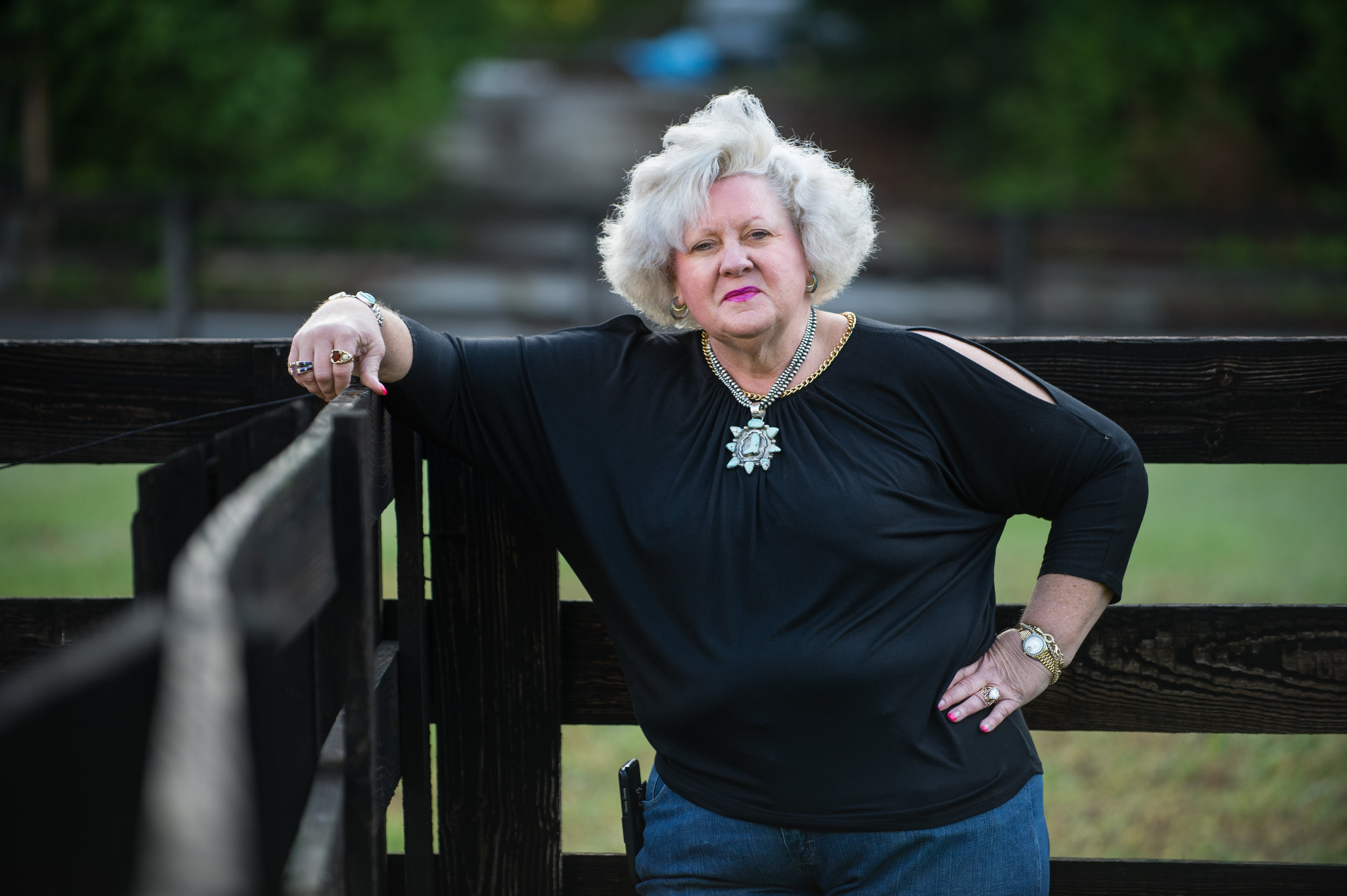 Ann Jones is a equine professional and cattle rancher with property in Georgia and Oklahoma. She's shown here on her farm, Jones Cutting Horses, in Flowery Branch, Ga. in April 2017.