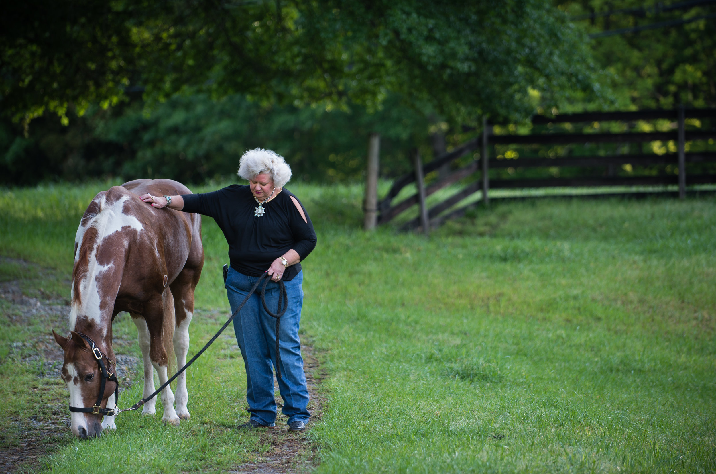 Ann Jones is a equine professional and cattle rancher with property in Georgia and Oklahoma. She's shown here with one of her favorite horses, Delta, on her farm, Jones Cutting Horses, in Flowery Branch, Ga. in April 2017.