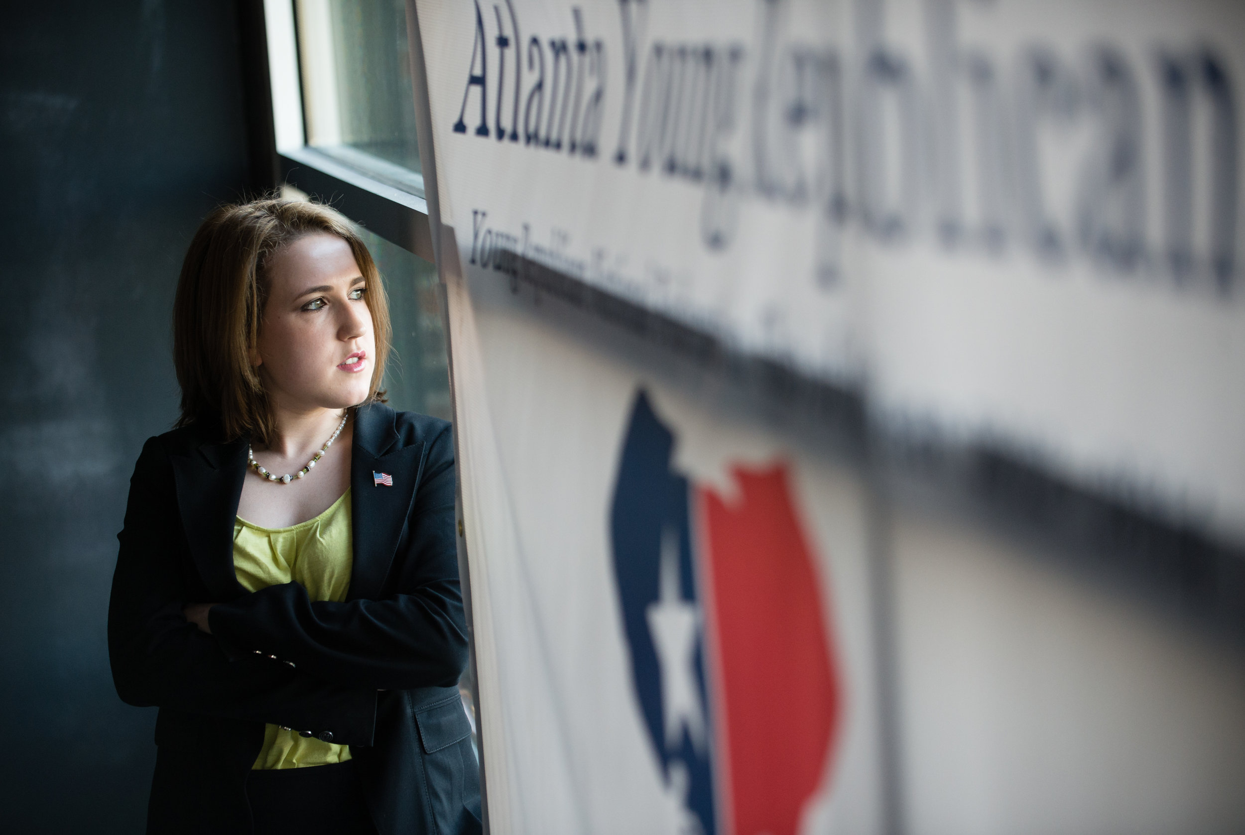 Angelyn Dionysatos is president of the Atlanta Young Republicans. She's shown here during the group's monthly gathering at 5 Seasons Westside in Atlanta in April 2017.