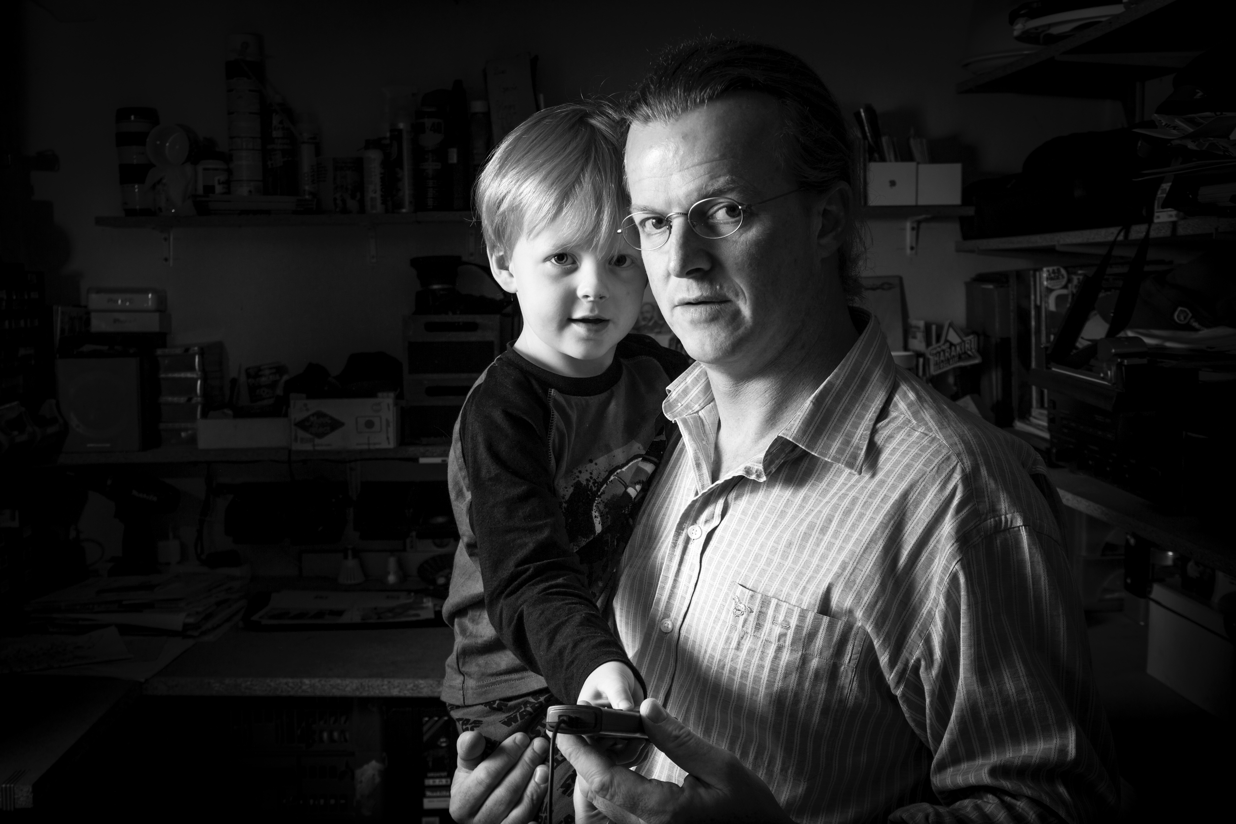 Here I was playing with some flashes in my workshop and my eldest came to 'give me some help' so we had a quick lesson in lighting!