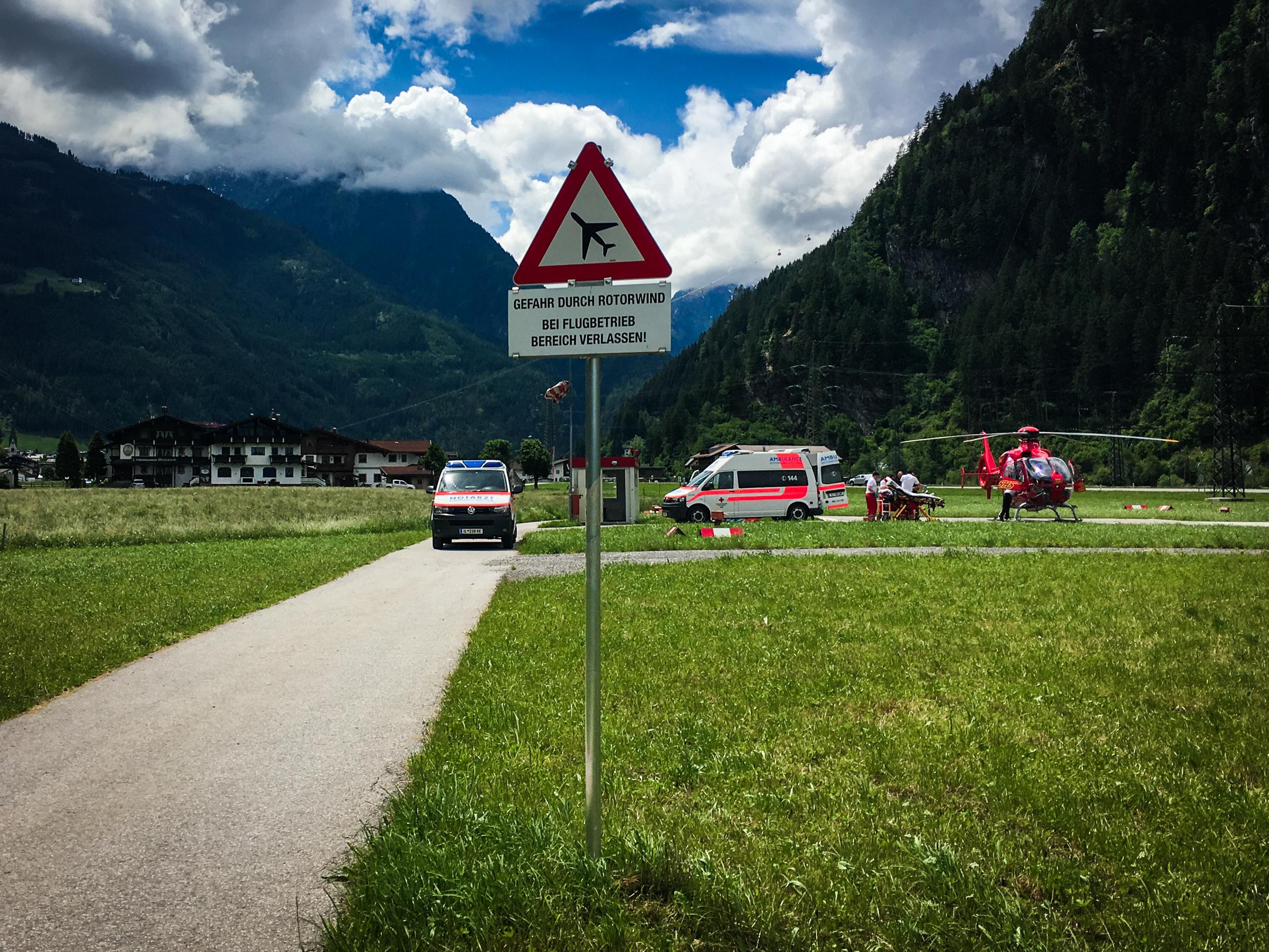 Hubschrauber Landungplatz Mayrhofen gestern in einsatz