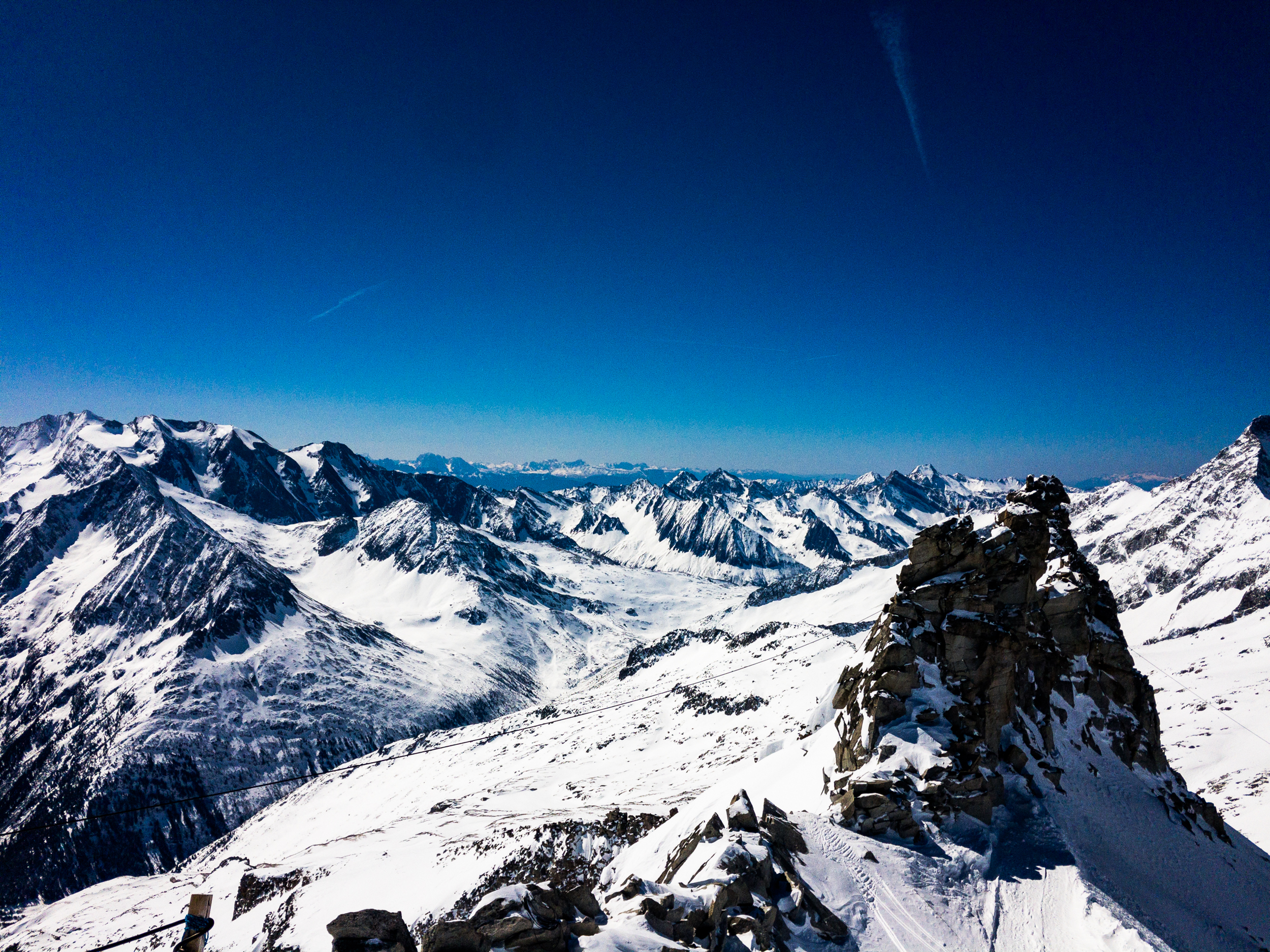 The South view from 3250m over into the Italian Alps