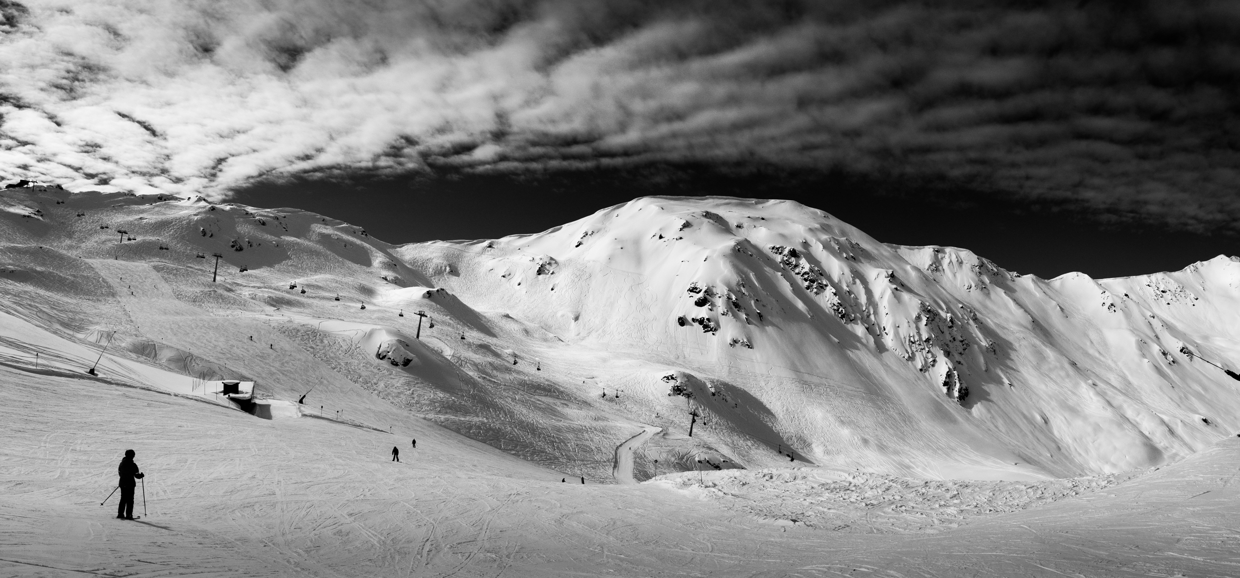 A panorama of some big white snowy things while on a ski day with the wife in Hoch Fügen. Shot on the iPhone with post in Lightroom CC.