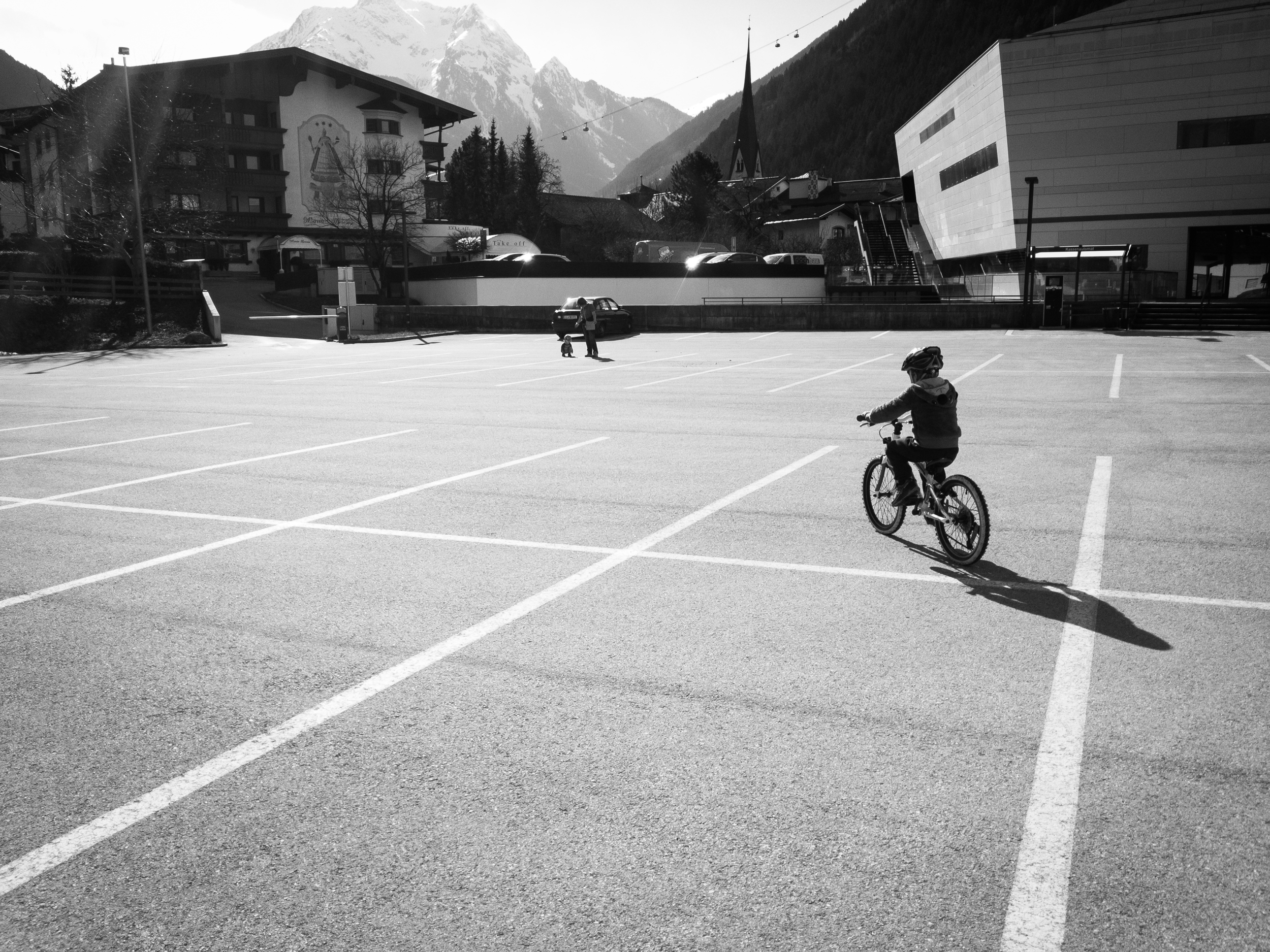 My eldest takes his new big bike out for a spin in one of our deserted car parks (definately out of season!) Shot on the canon 6D with post in Lightroom CC.