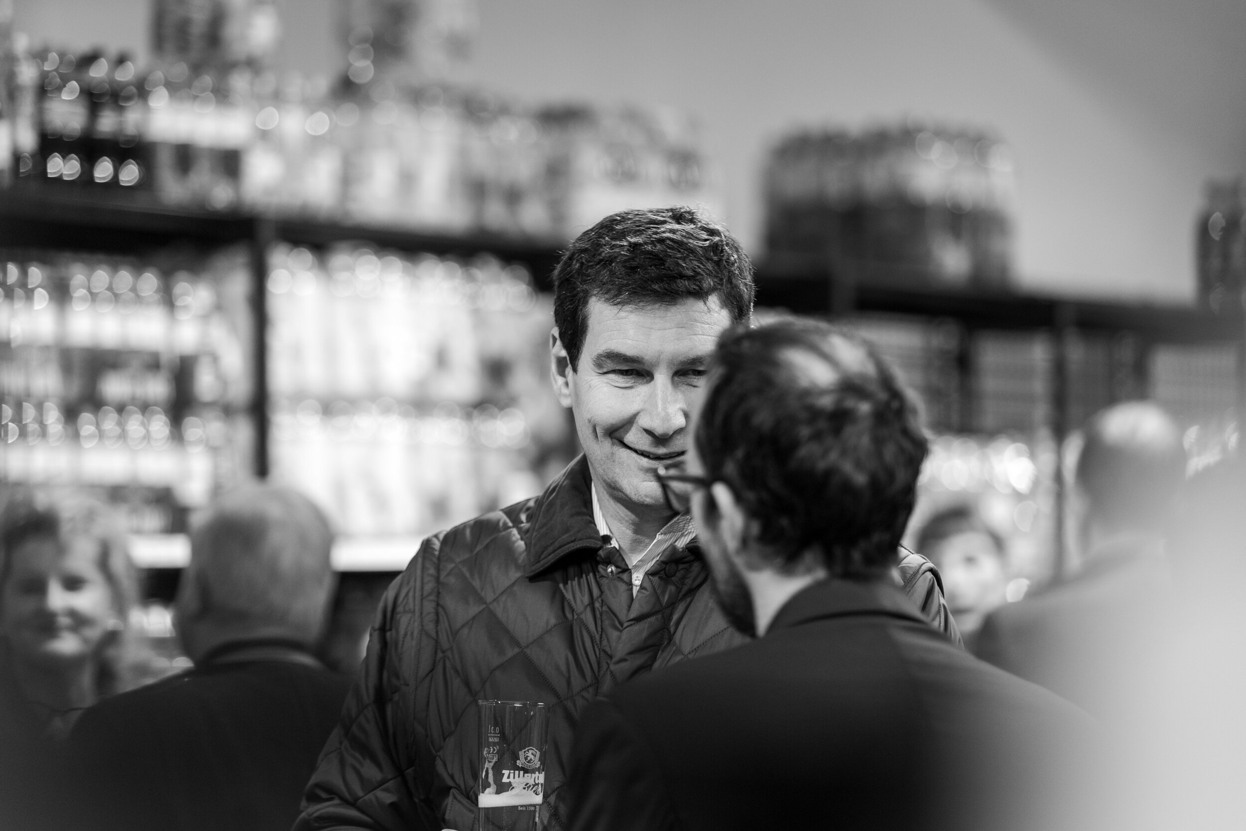 The Boss of Zillertal Bier chatting with the boss of T&G at a Store opening that I covered last November.