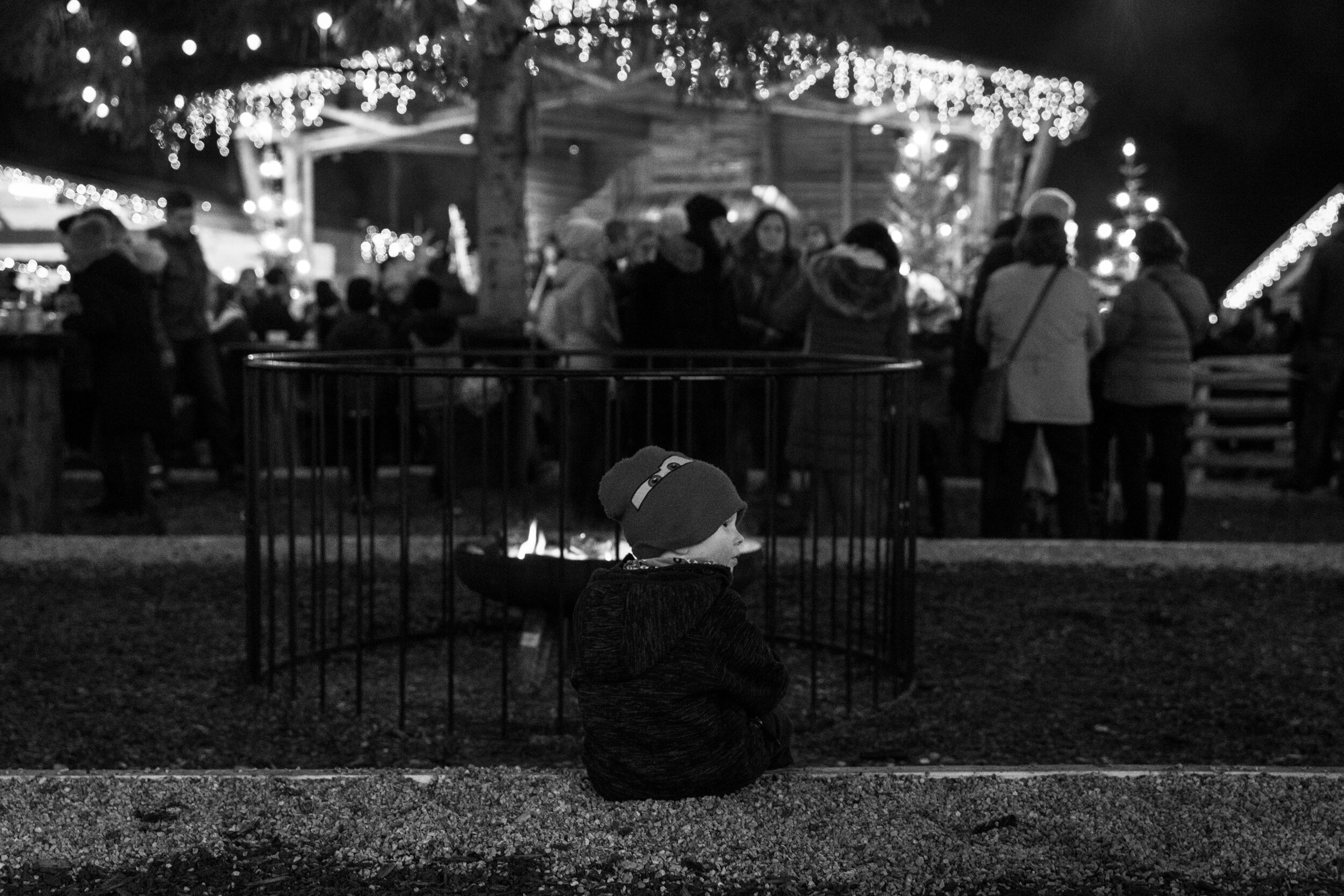 Warming by the fire at the Christmas Market
