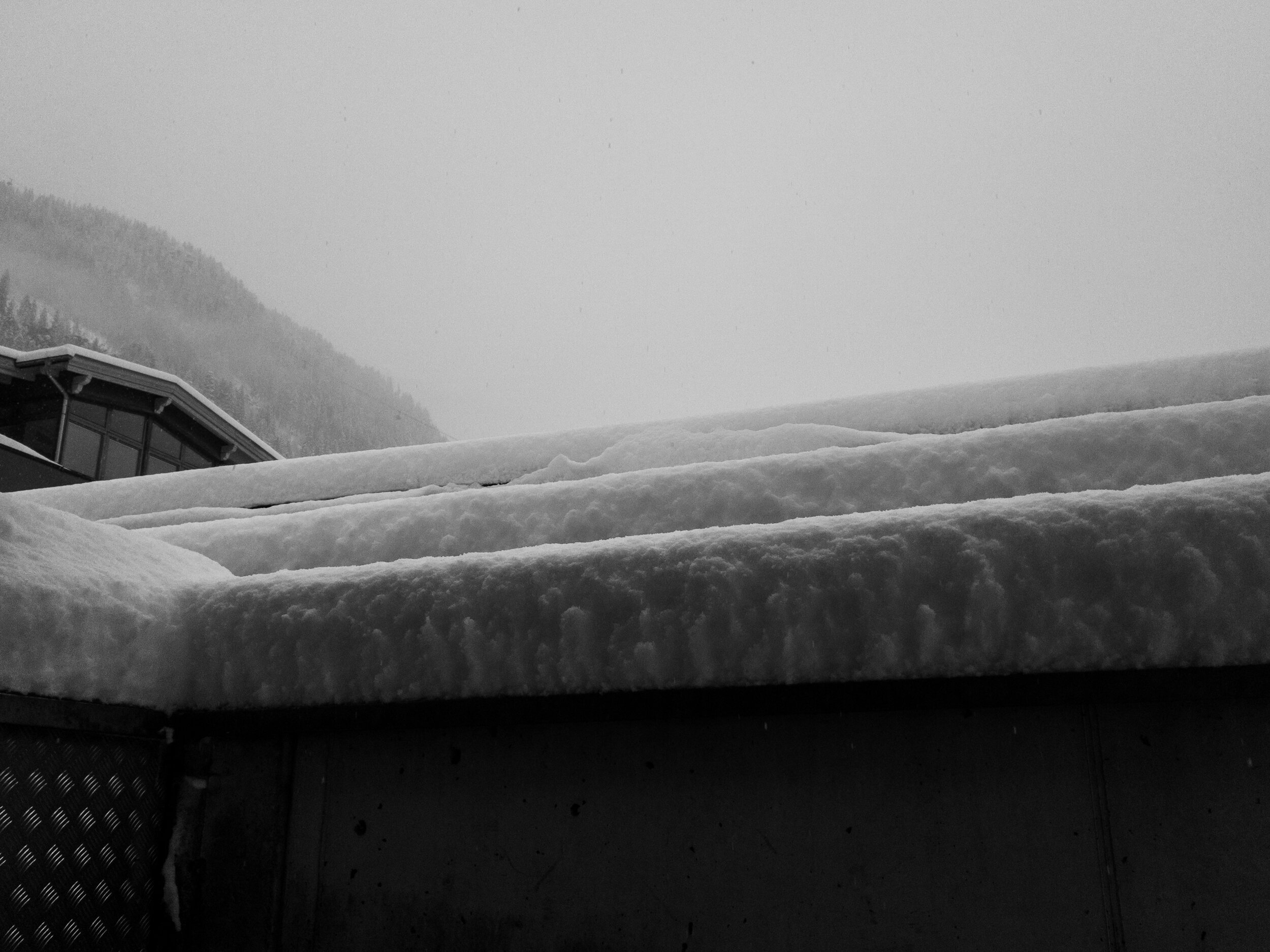 snow on a cold tin roof, from some of the epic snowfall we had last winter!