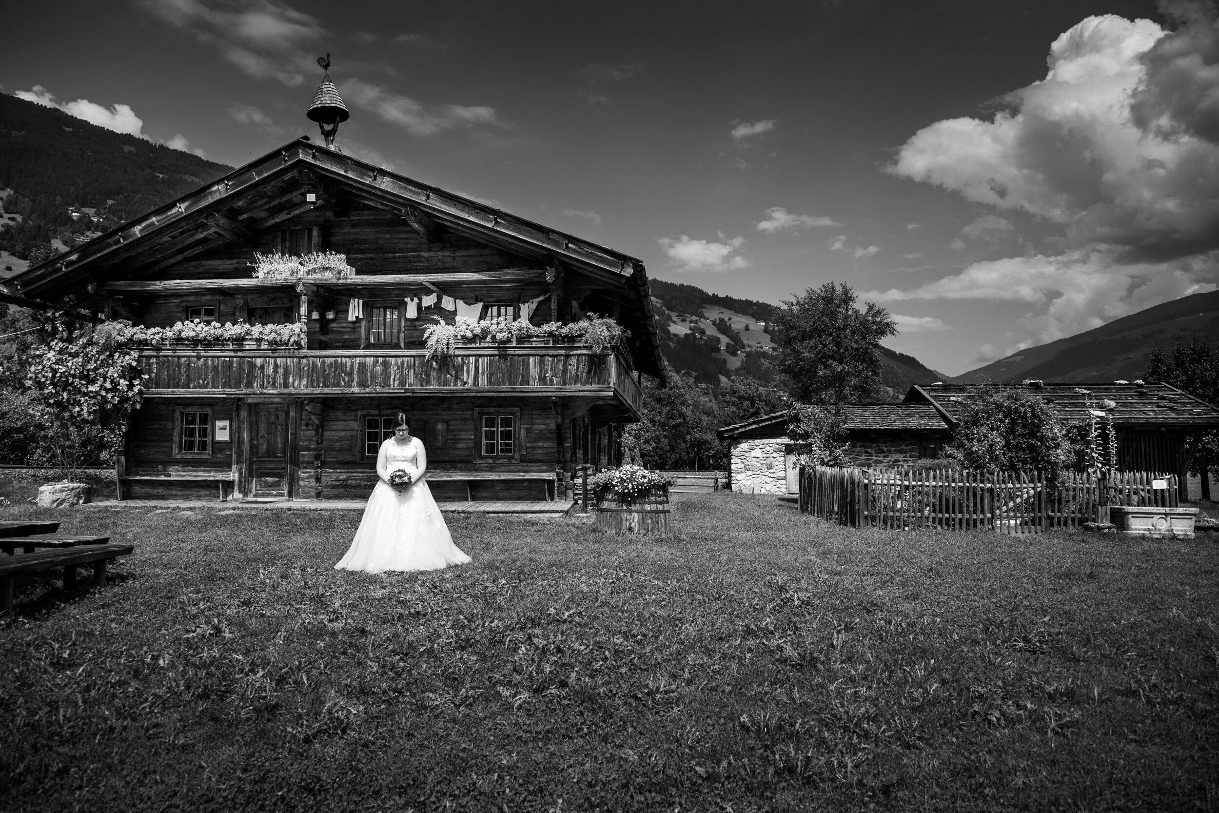 A bridal portrait that I took at the Zillertal Regional Museum