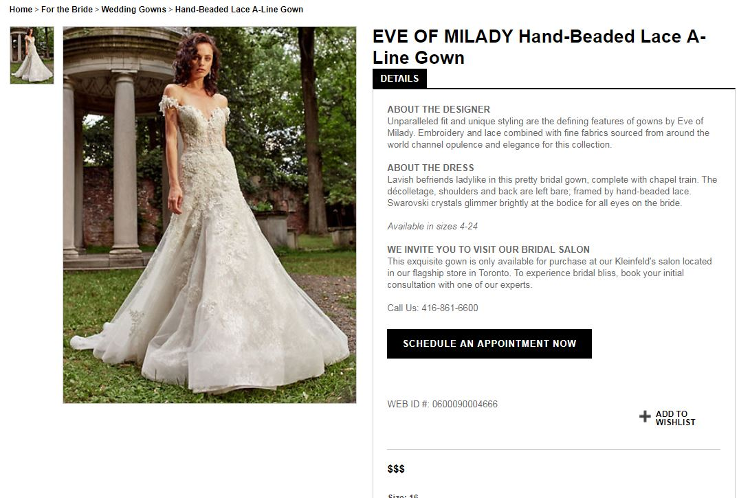Hand-Beaded Lace A-Line Gown   Lavish befriends ladylike in this pretty bridal gown, complete with chapel train. The décolletage, shoulders and back are left bare; framed by hand-beaded lace. Swarovski crystals glimmer brightly at the bodice for all eyes on the bride.