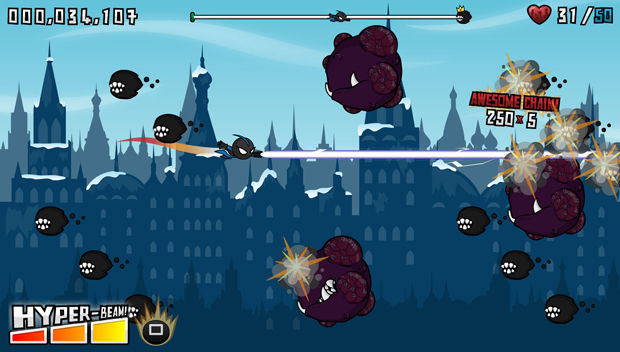 Who's That Flying!?  is an  arcade-style side-scrolling shoot-em-up  for  PSN / PS Vita  developed by  Mediatonic , in which you (the hero the people don't deserve) defend the city from an onslaught of monsters destined to destroy it.   https://www.youtube.com/watch?v=vzEpxIJKQok