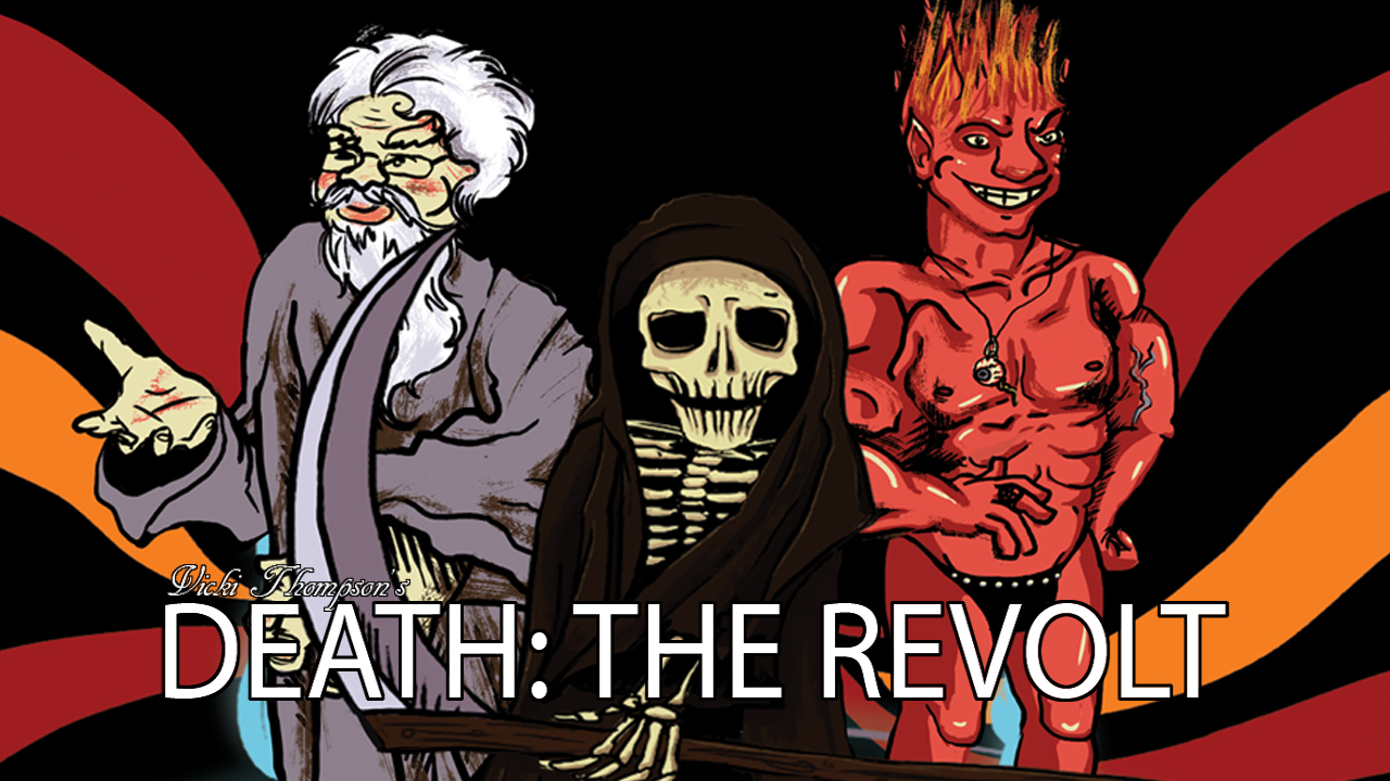 Death: The Revolt  (unreleased) was a prototype for a puzzle game I made over the course of 4 months. The eternal war between Heaven and Hell was reaching a head, and in a Grim Fandango-style puzzler, you, Death, had the sole responsibility of fixing things.