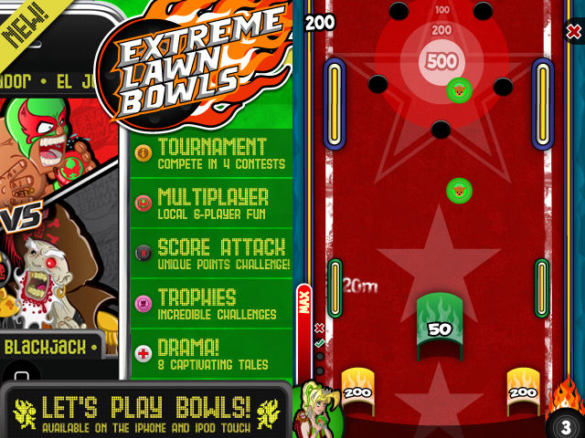 Extreme Lawn Bowls  (2010) is an arcade-style sports game with a host of colourful characters for iOS and Android, developed and published by  Mediatonic .    https://www.youtube.com/watch?v=I0UCpfA-ptQ