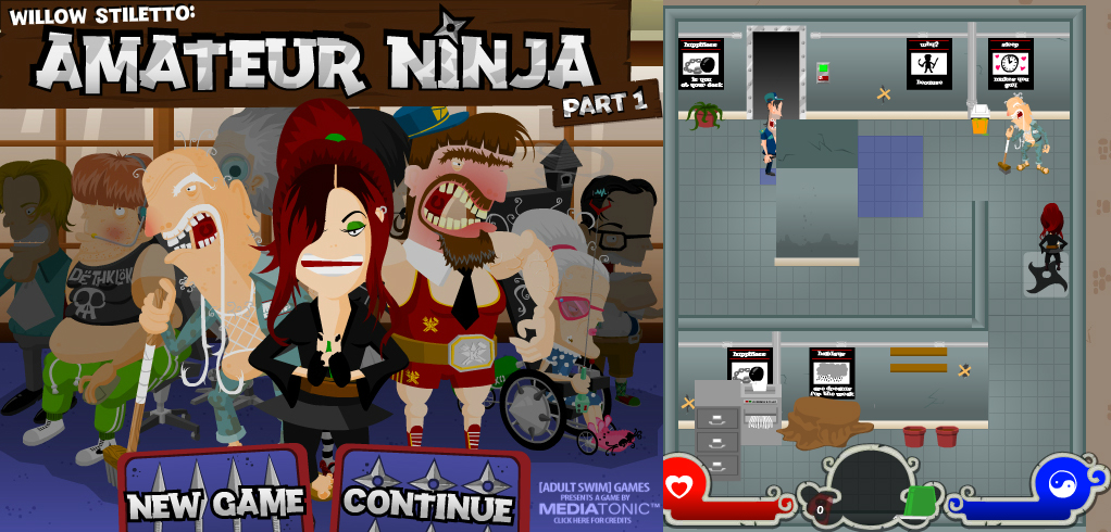 Amateur Ninja  was a puzzle adventure game for PC, developed by  Mediatonic  and published by  Adult Swim , in which you played as Willow Stiletto, ninja-in-training, who seeks to rescue her dojo from its kidnappers. Learning a new ninja skill each level to go deeper into the Zelda-style dungeons, stealthing around Metal Gear Solid-style to triumph over your opponents - this little game was super ambitious.  No longer on Adult Swim, available here:   http://bit.ly/2D98uNj